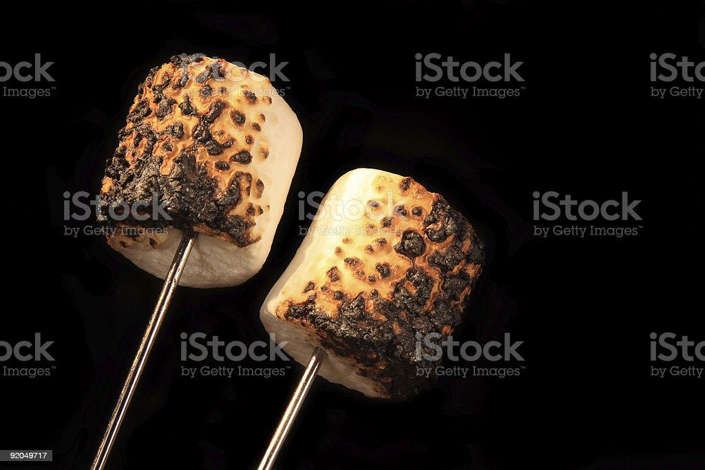 Two Roasted Marshmallows royalty-free stock photo