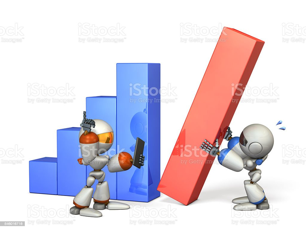Two robots gave good results in cooperation. stock photo