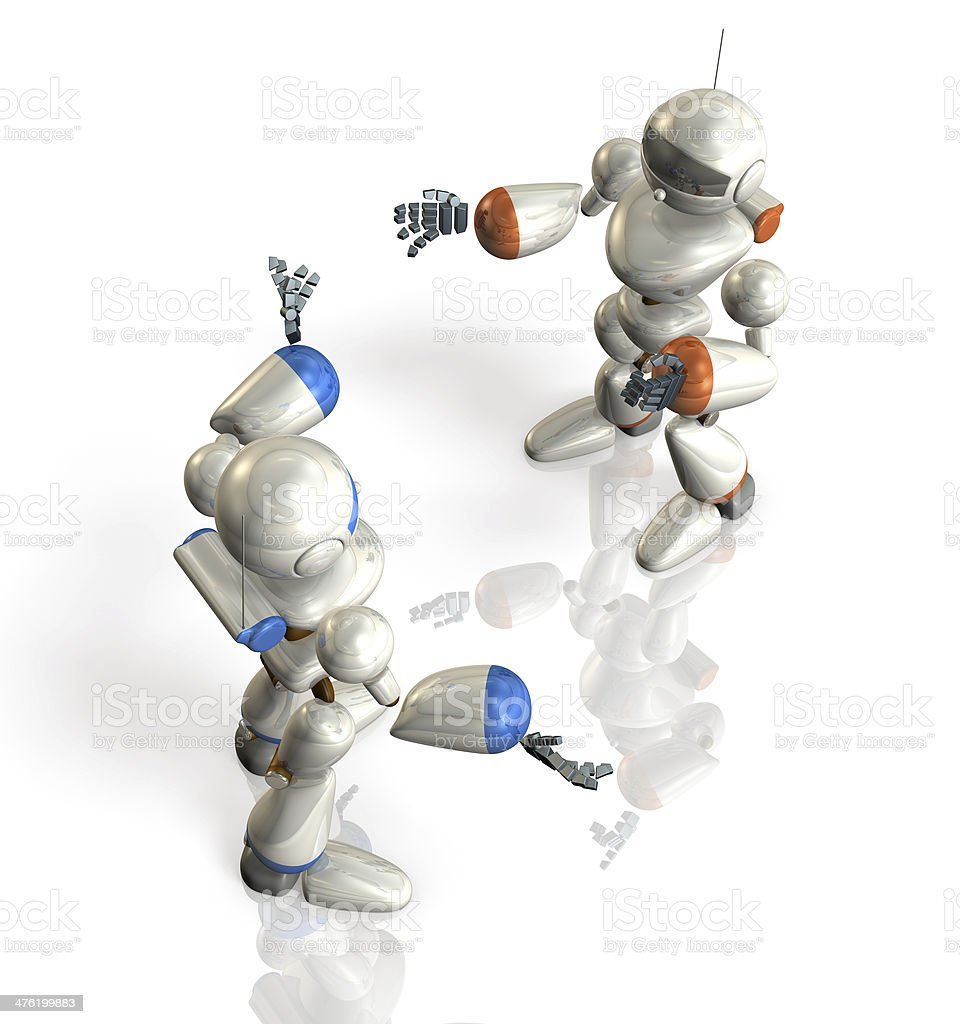 Two robots have a debate. royalty-free stock photo