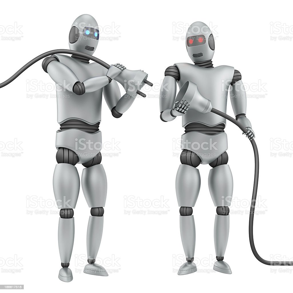 two robots royalty-free stock photo