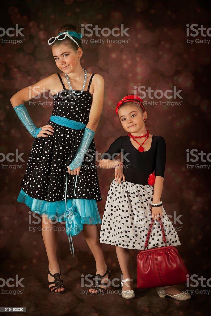 Two Rockabilly girls stock photo
