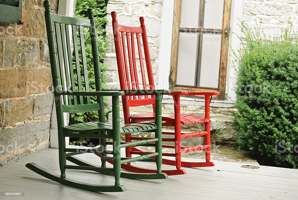 two rocking chairs on front porch royalty-free stock photo & Two Rocking Chairs On Front Porch stock photo 183234837 | iStock