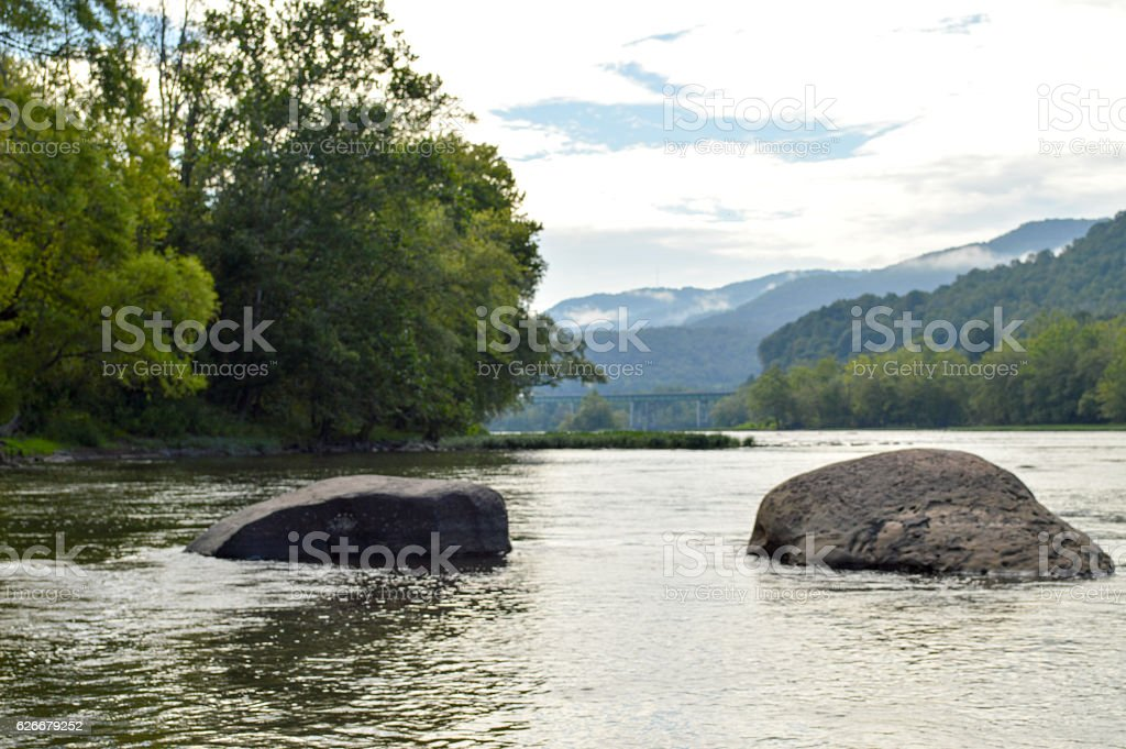Two Rocks on the New River stock photo