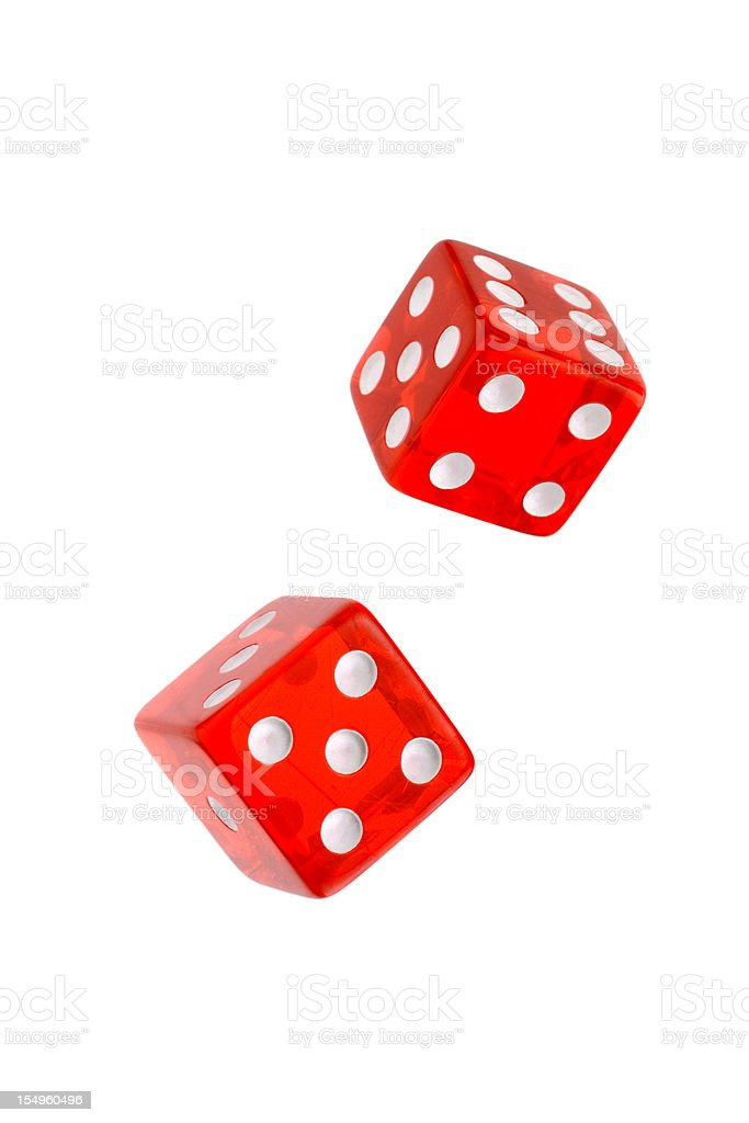 Two rolling red dices for games stock photo