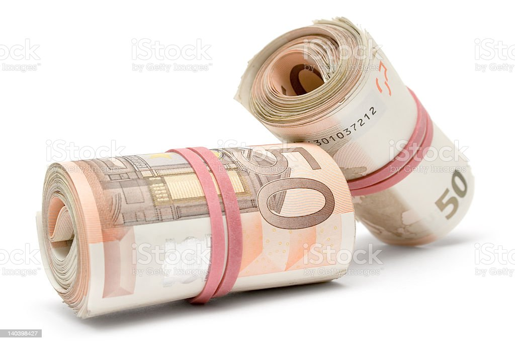 Two Rolls of Euro Bills royalty-free stock photo
