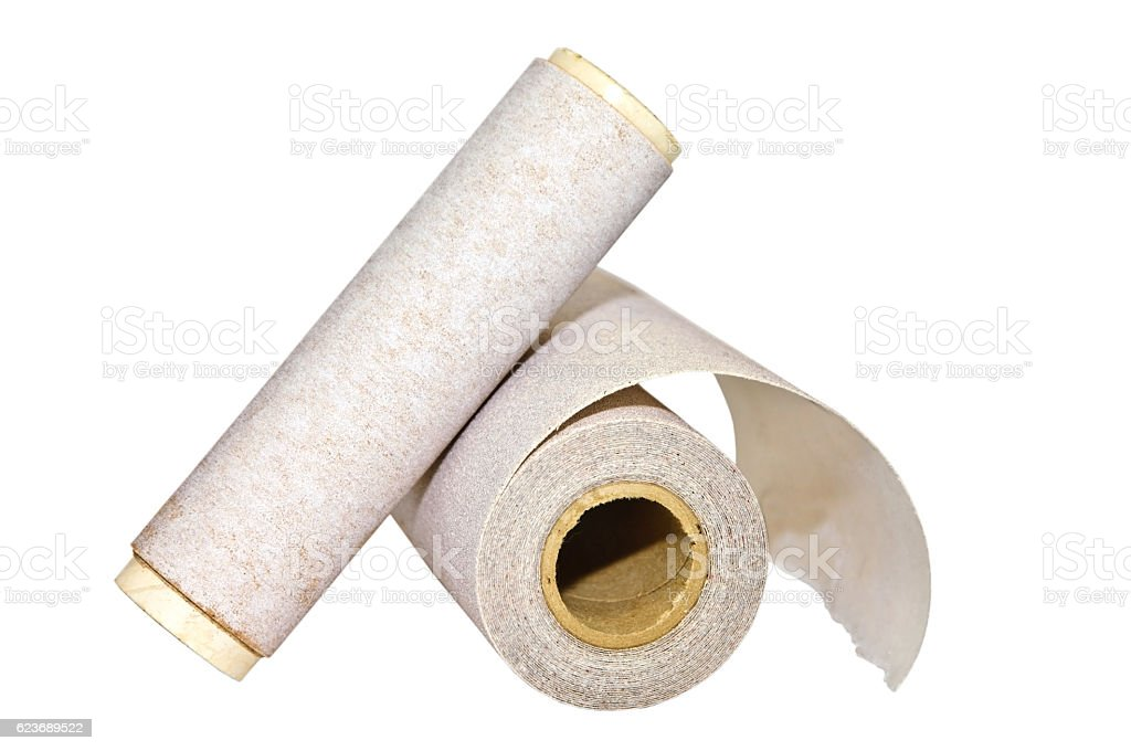 Two Rolls of Sandpaper stock photo