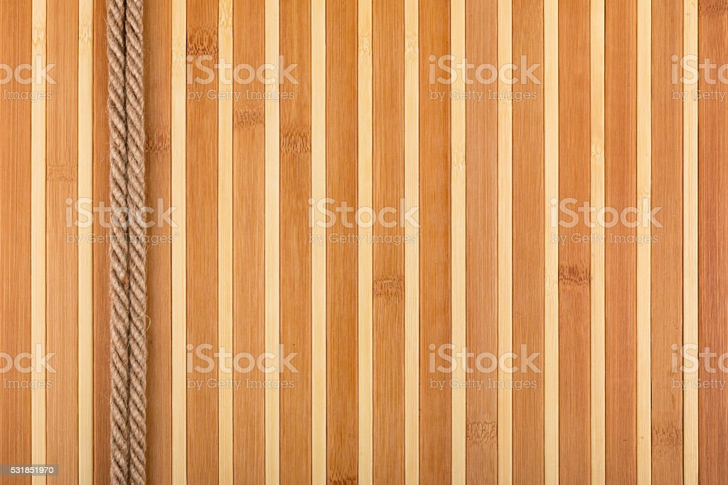 Two  rope lying on a bamboo mat stock photo