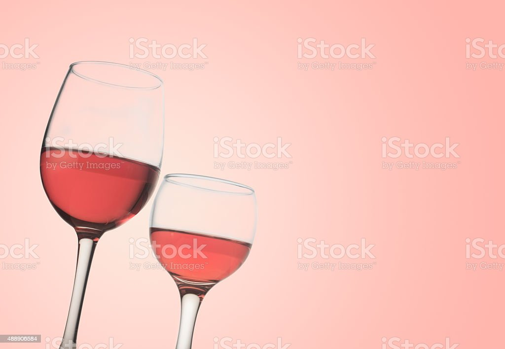 Two rose glasses stock photo