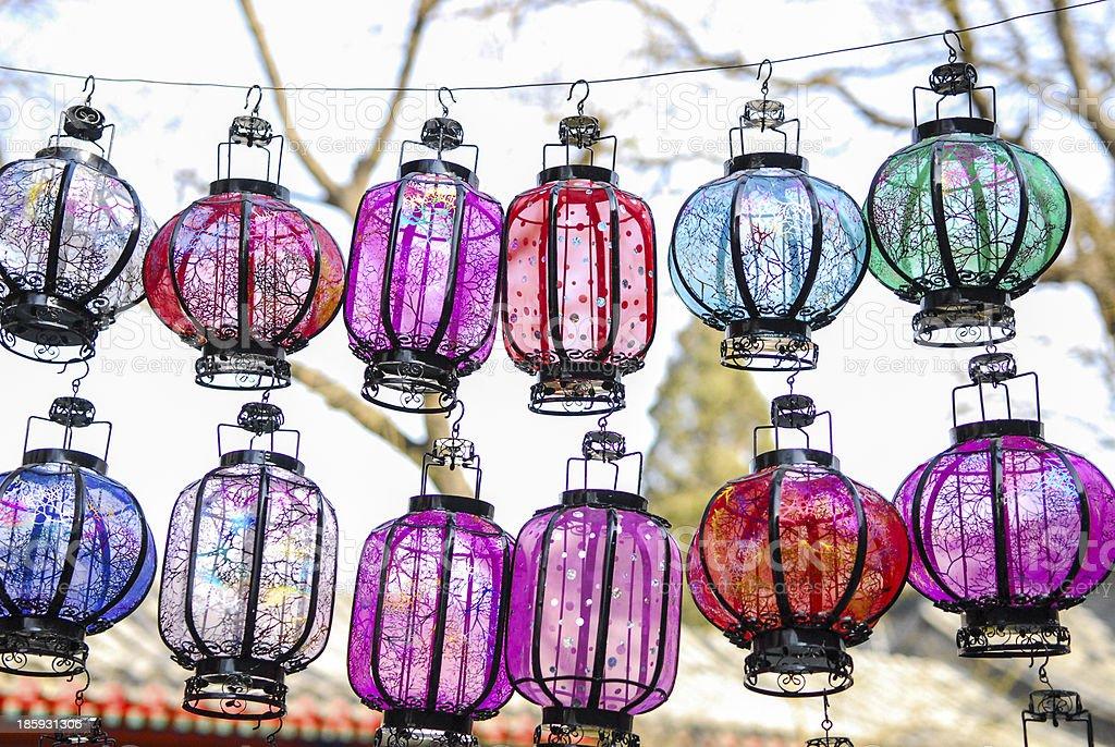 two rows of Lanterns stock photo