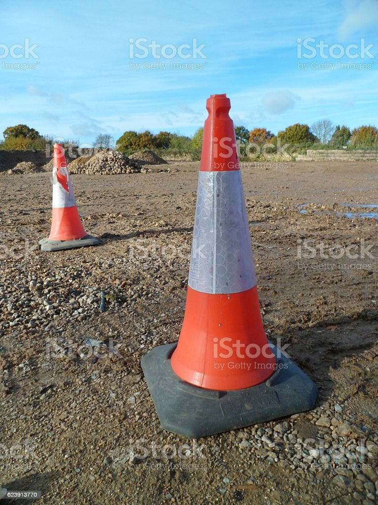 Two rural traffic cones stock photo