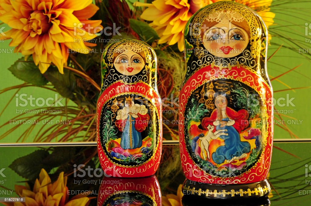 Two Russian Matryoshka On A Green Background Symbol Of Russia Stock