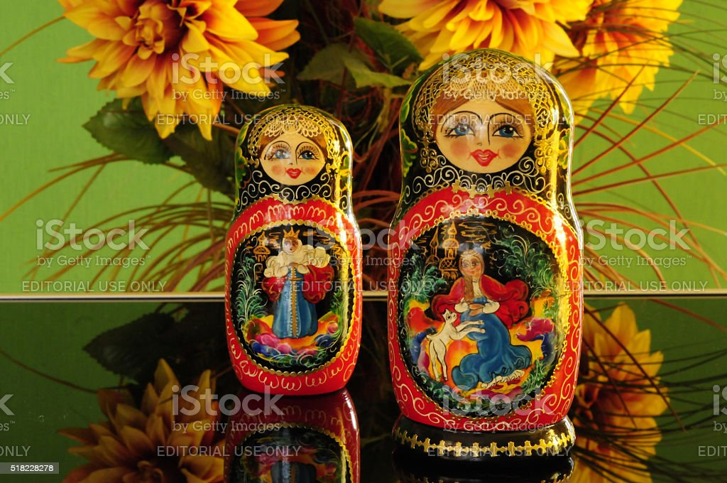 two Russian matryoshka on a green background, symbol of Russia stock photo