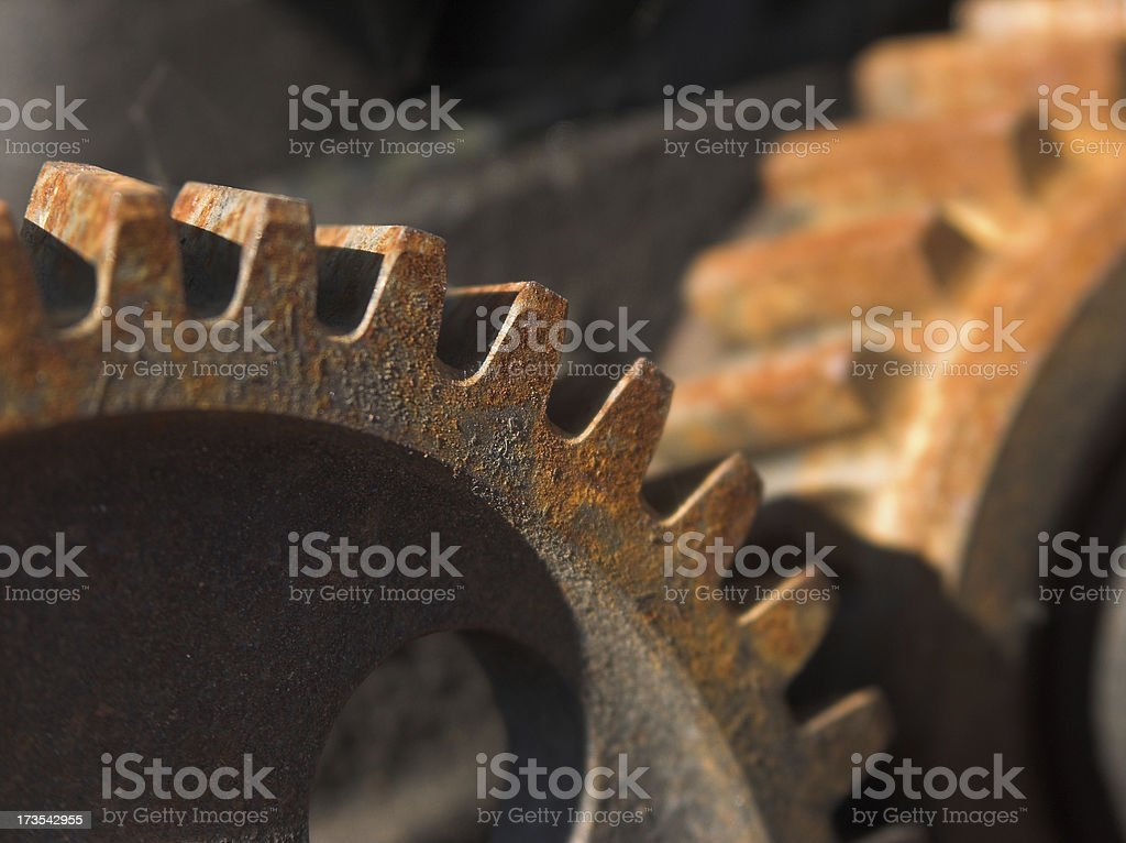 Two rusted gears royalty-free stock photo