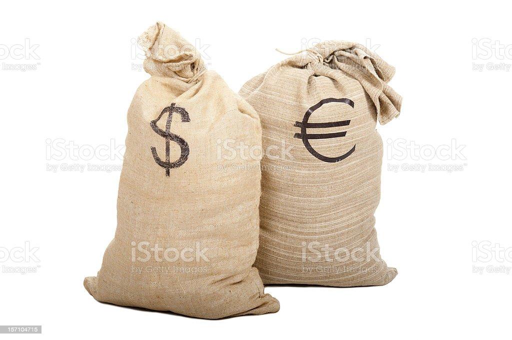 Two sacks full of cash royalty-free stock photo
