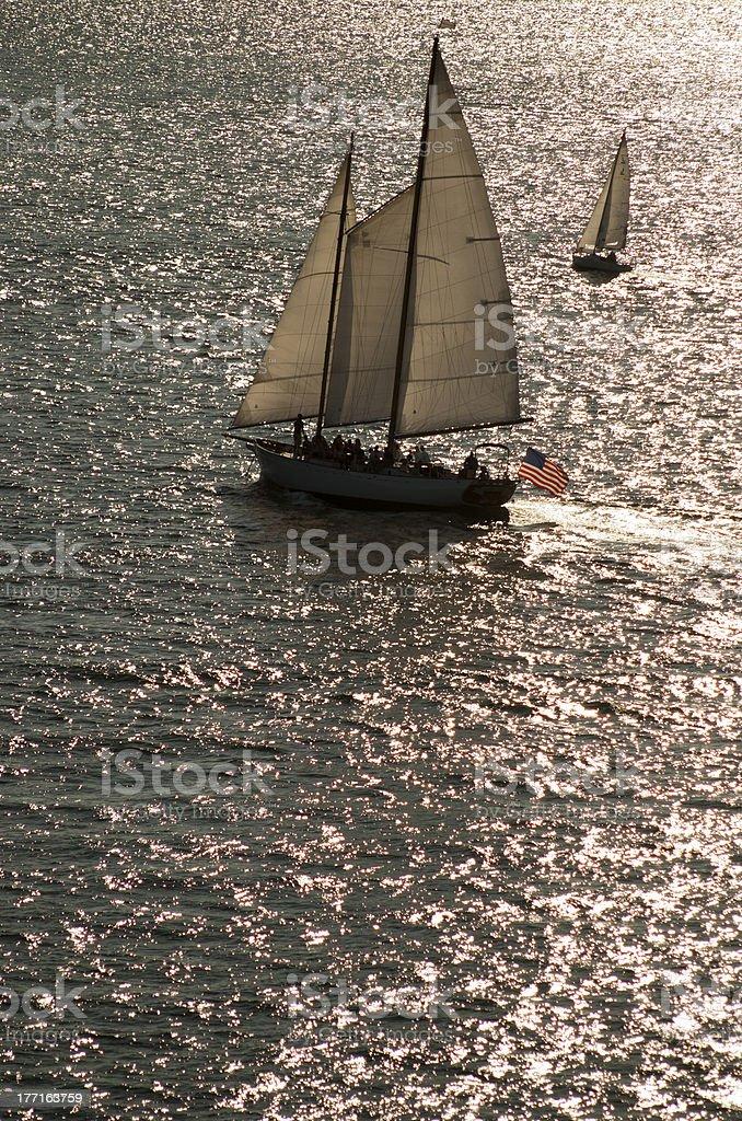 Two Sailboats Passing 2 royalty-free stock photo