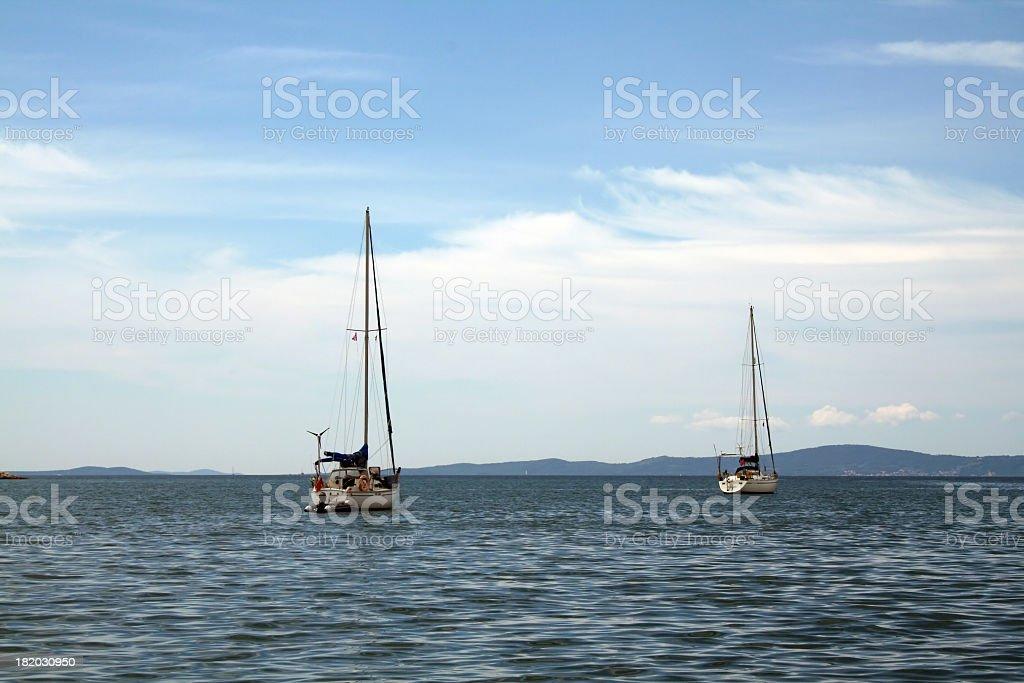 Two sailing boats stock photo