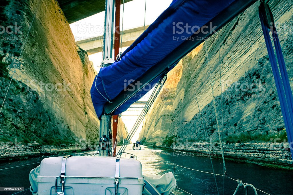 Two sailing yachts deep within the Corinth Canal. stock photo