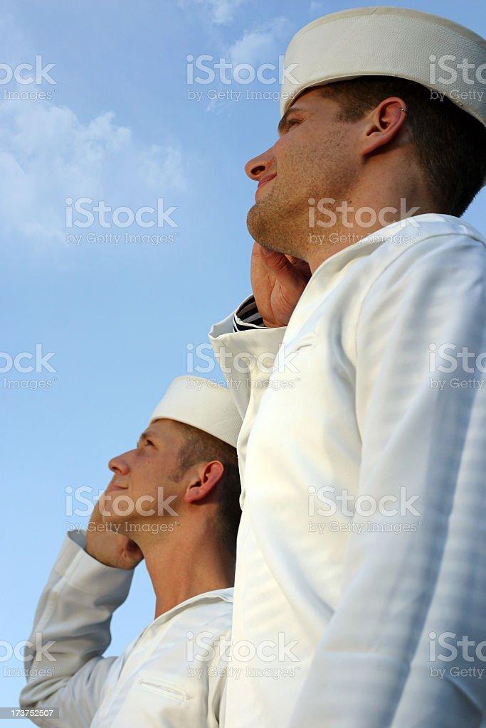 Two Sailors Saluting stock photo