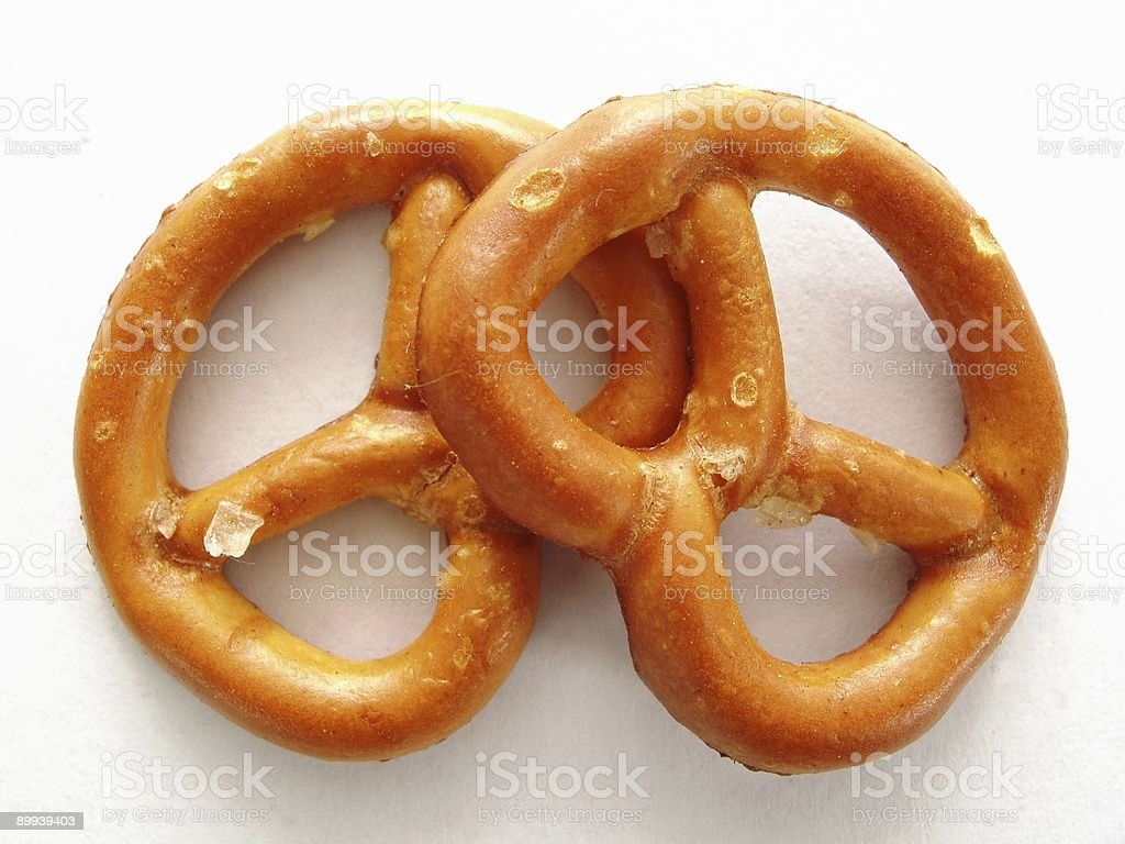 Two Salted Pretzels royalty-free stock photo