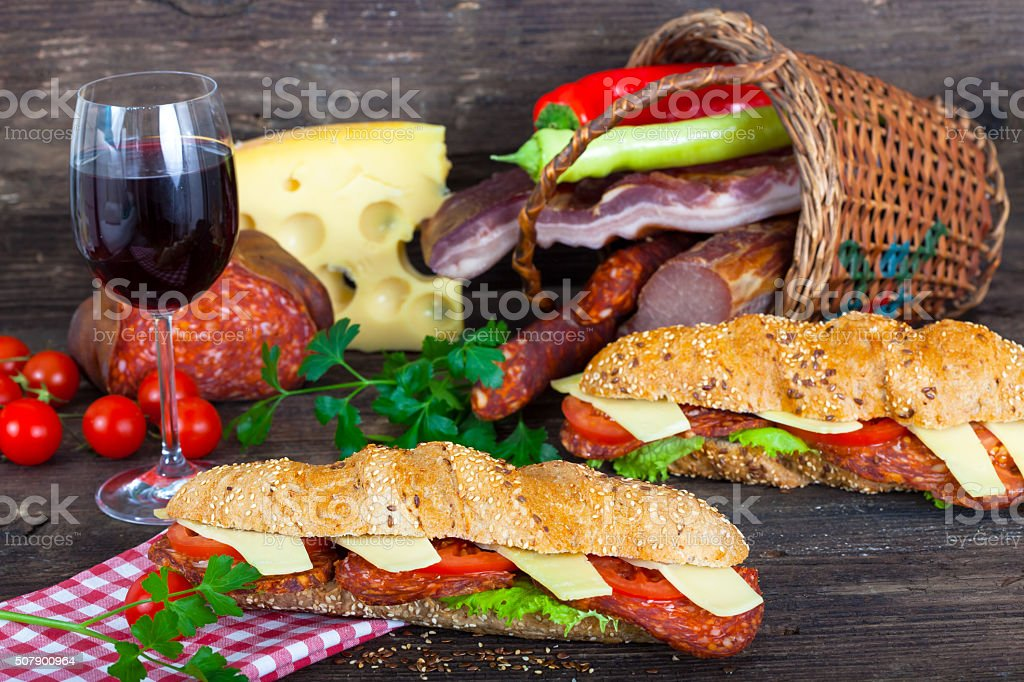 Two sandwiches with salami and cheese stock photo