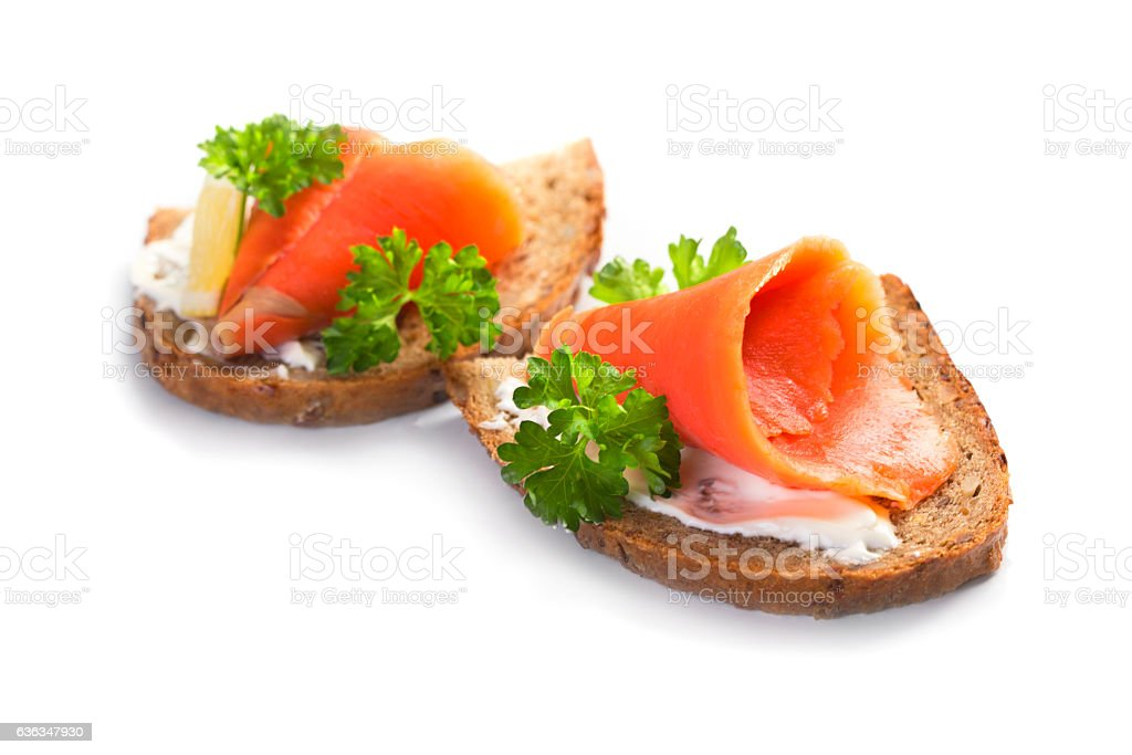 Two sandwiches with smoked salmon stock photo