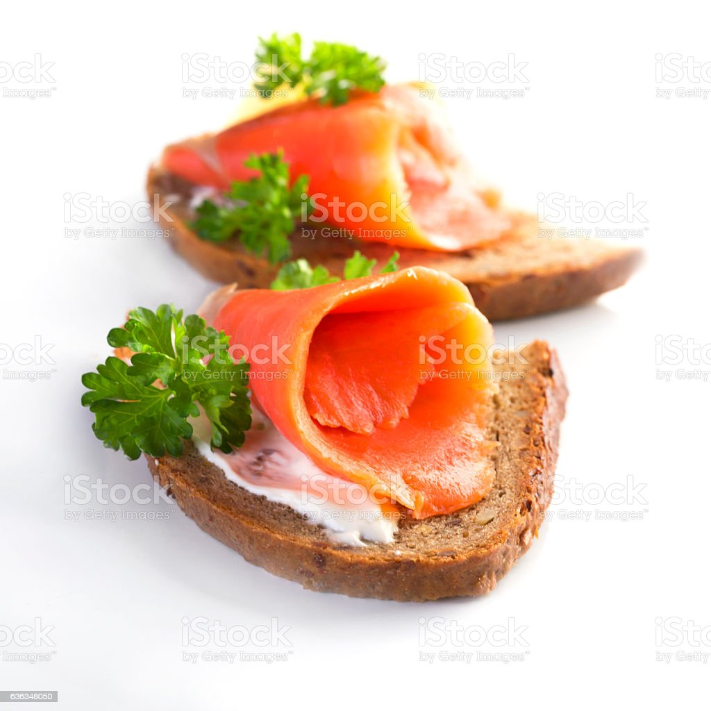 Two sandwiches with smoked salmon stock photo