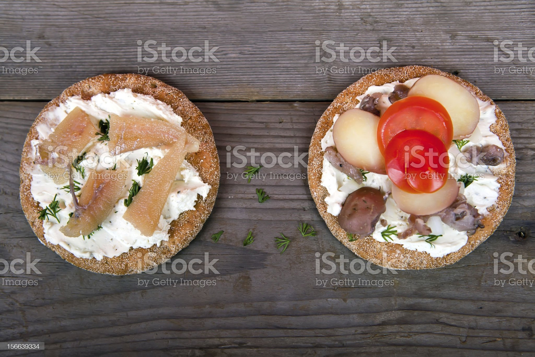 Two sandwiches with surstromming royalty-free stock photo