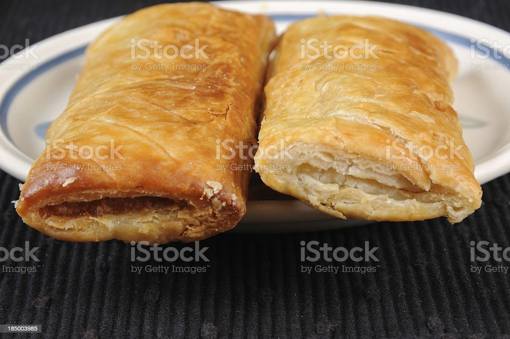 Two sausage rolls. stock photo