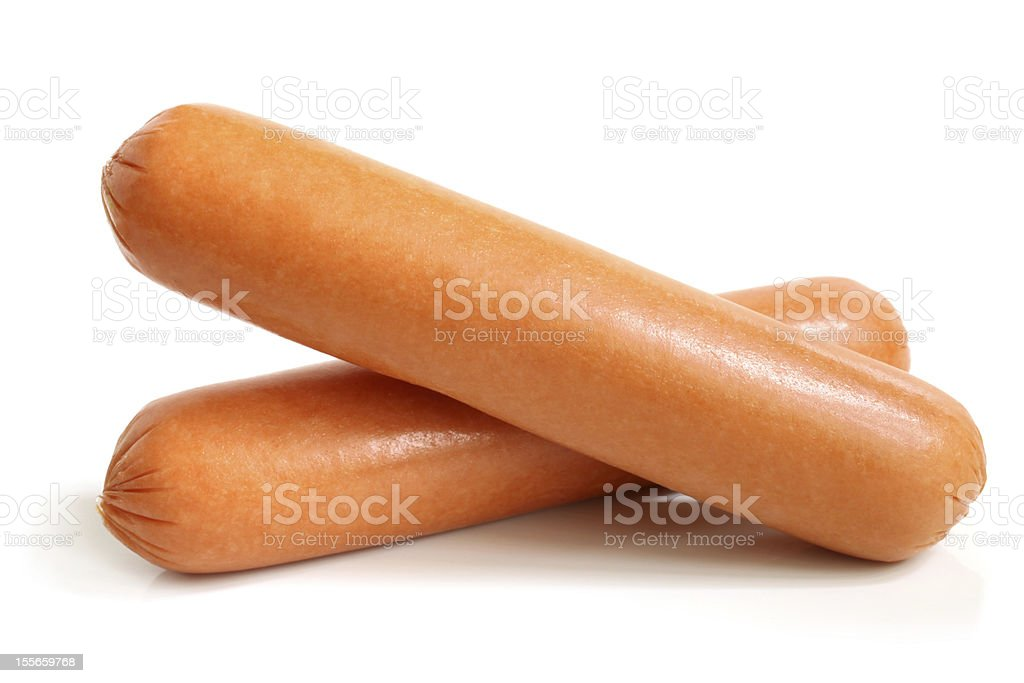 Two sausages set against white background stock photo