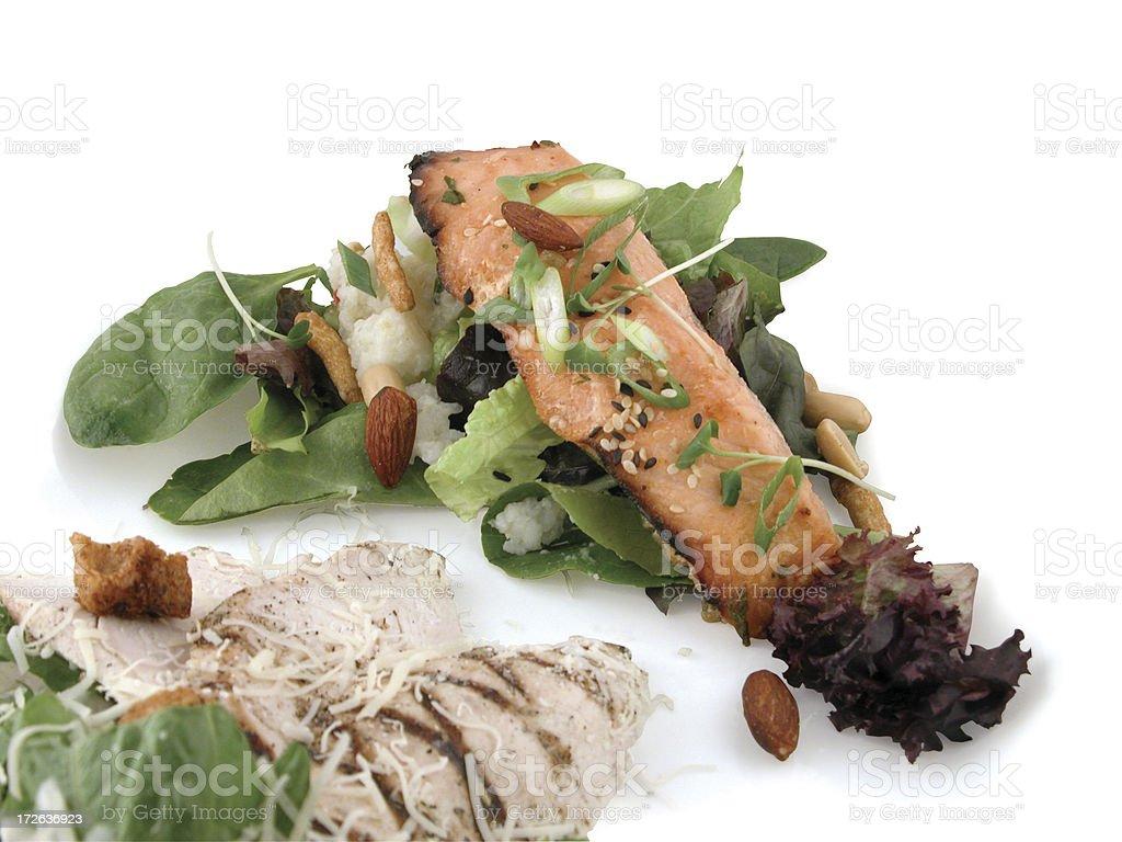 Two schmancy salads stock photo