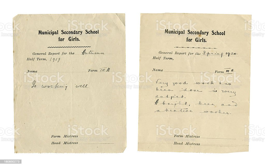 Two school half-term reports 1919-1920 royalty-free stock photo