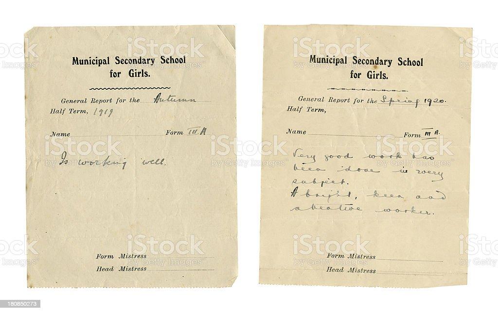Two school half-term reports 1919-1920 stock photo
