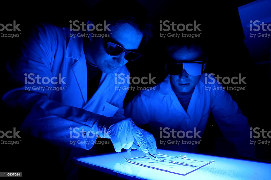 two scientists cutting gel royalty-free stock photo