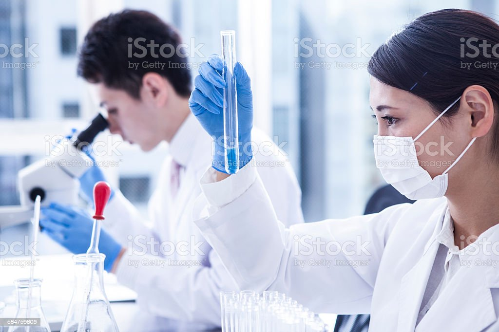Two scientists who work near a window. stock photo