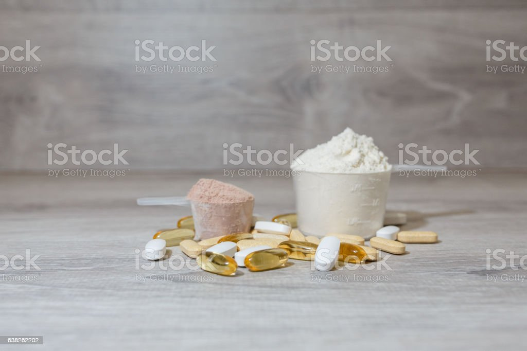 Two scoop of protein stock photo