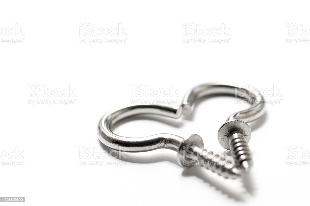 Two screw hooks stock photo