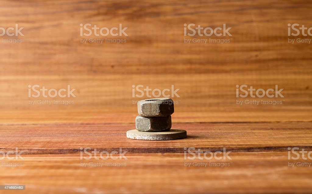 Two Screw Nuts and Washer stock photo