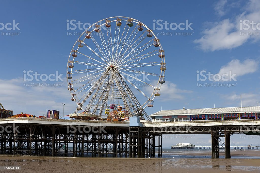 Two seaside piers, Blackpool stock photo