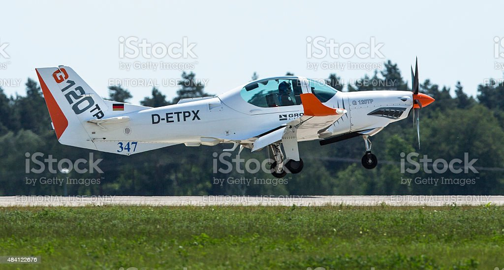 Two seated training and aerobatic low-wing aircraft Grob G120 TR stock photo