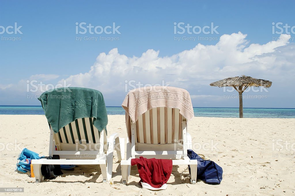 Two seats at Varadero beach CUBA royalty-free stock photo