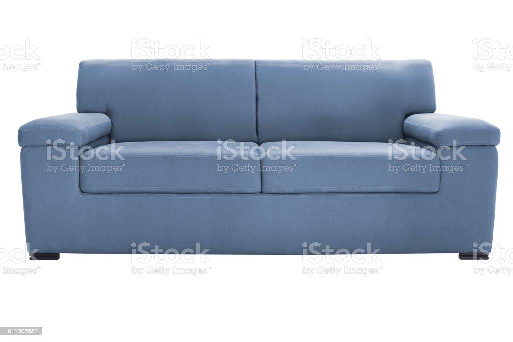 Two seats cozy blue sofa stock photo