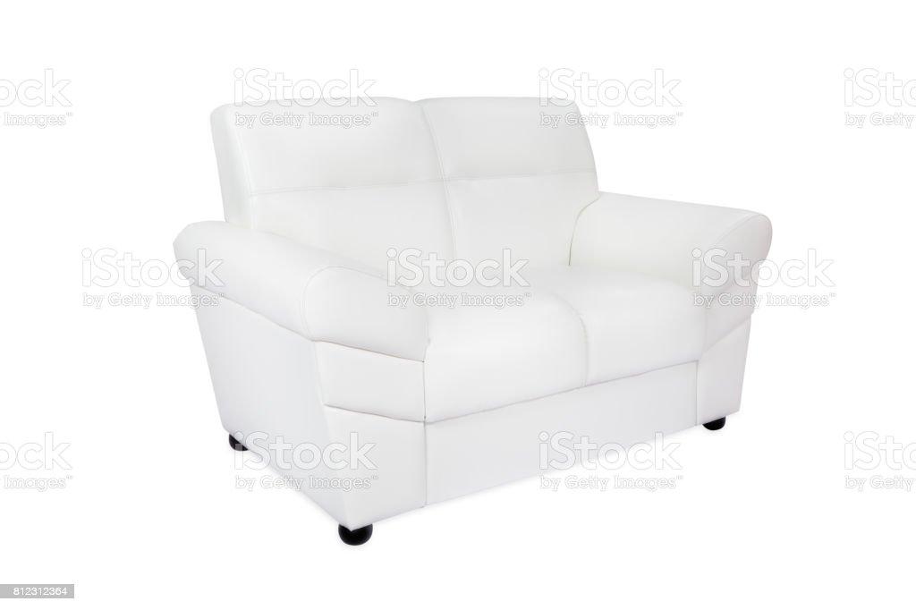 Two seats cozy white leather sofa stock photo