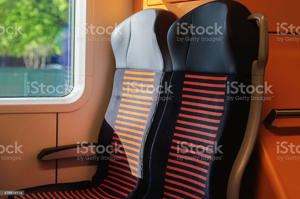 Two seats in train stock photo