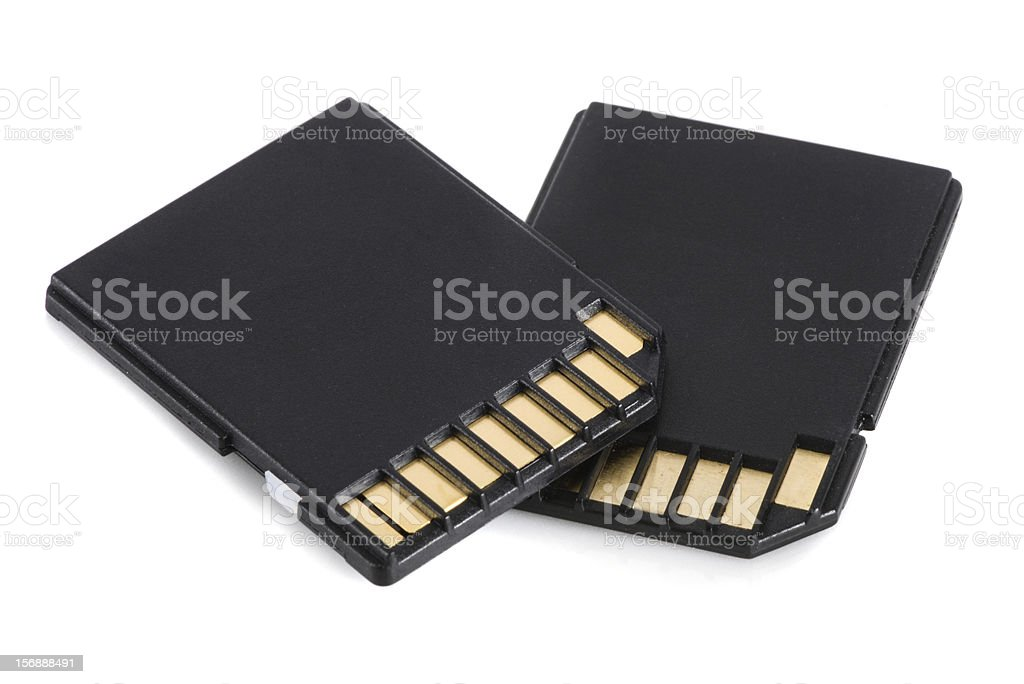 Two secure digital memory cards stock photo