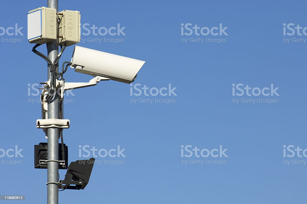 two security camera stock photo