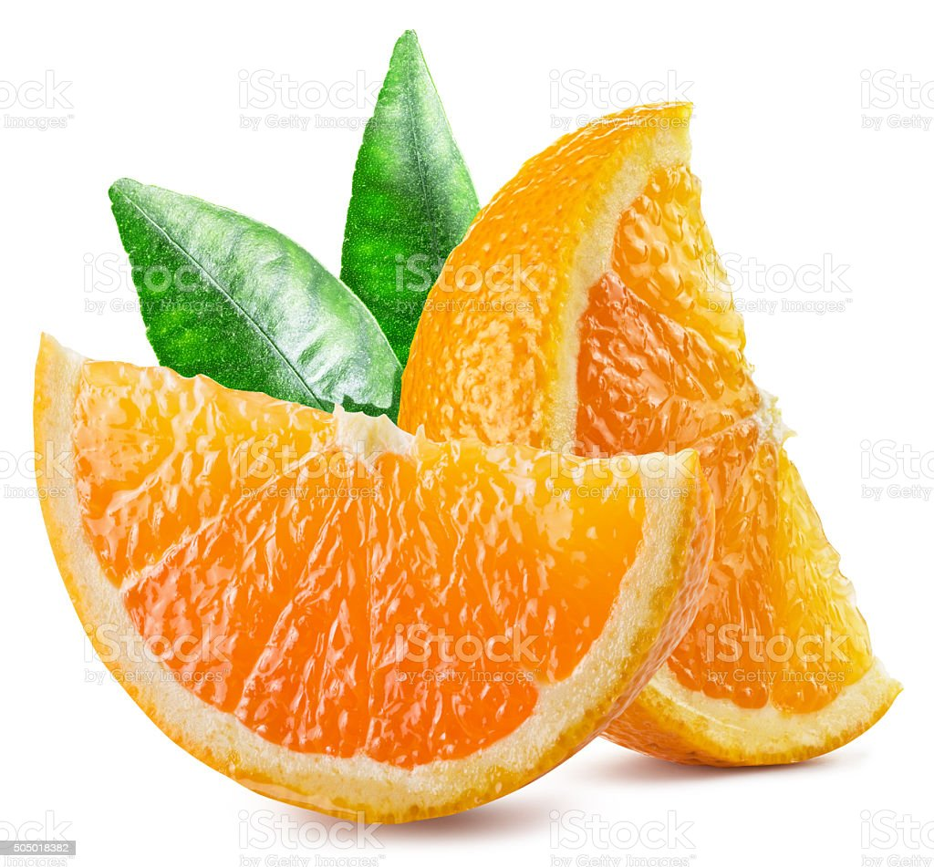 Two segments of orange fruit with leaves. stock photo