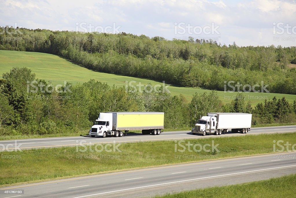 Two semi-trucks royalty-free stock photo