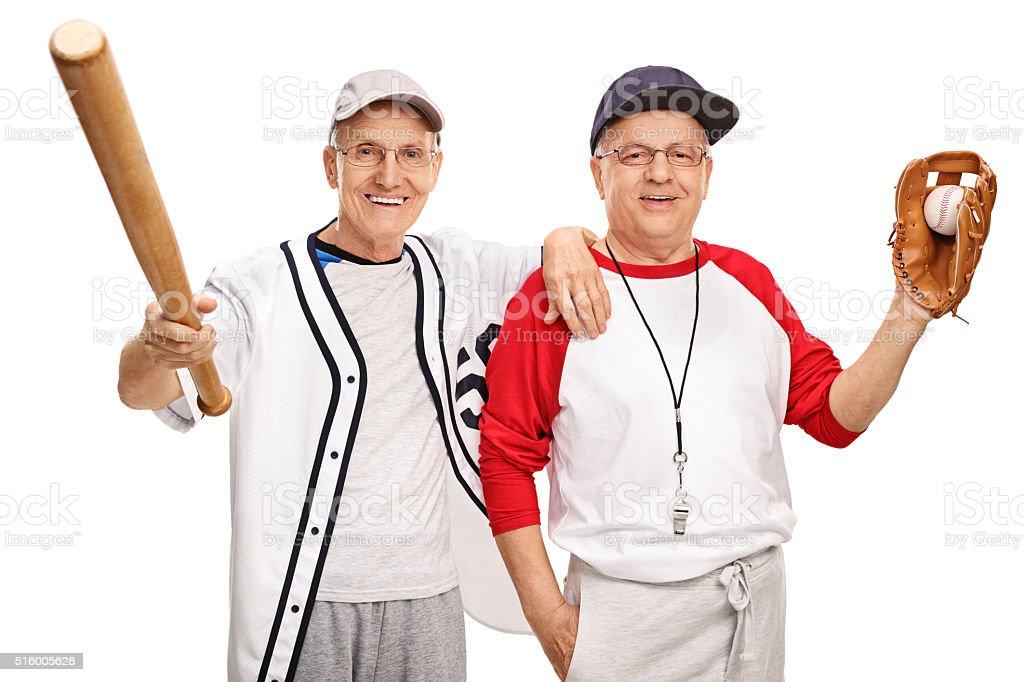 Two senior baseball players stock photo