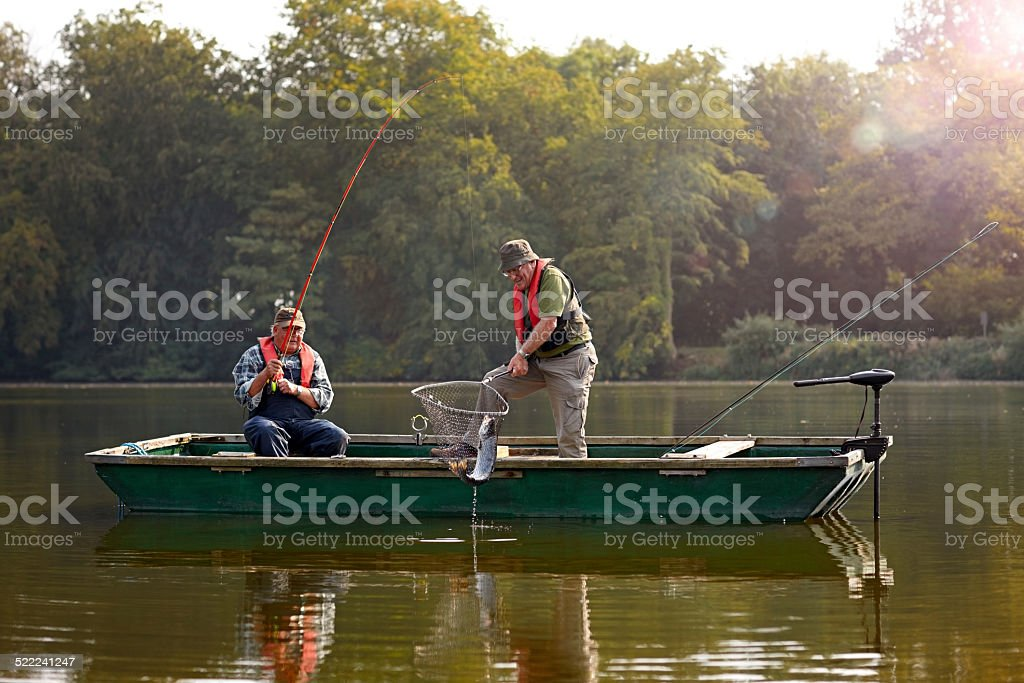 Two senior man catching fish stock photo