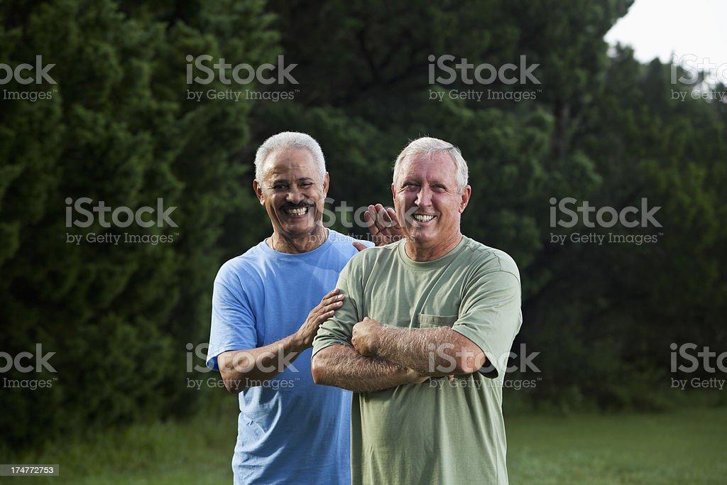 Two senior men stock photo